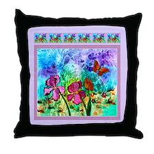 """Pink Iris 18"""" Lavender & Black Pillow"""