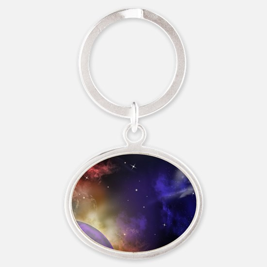 Universe with Planet and Stars Oval Keychain