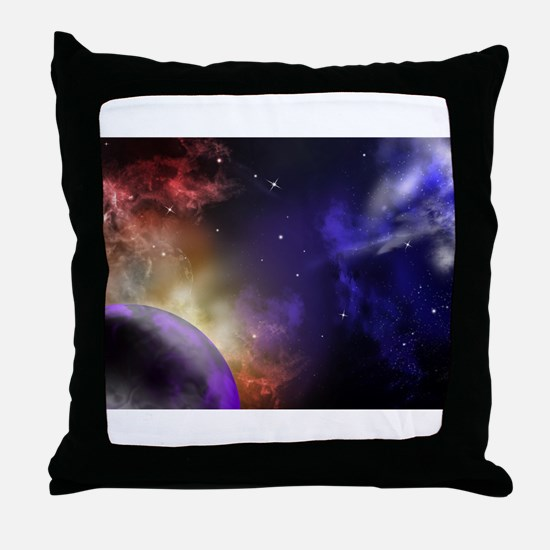 Universe with Planet and Stars Throw Pillow