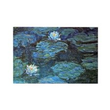 Claude Monet's Water Lilies - Blu Rectangle Magnet