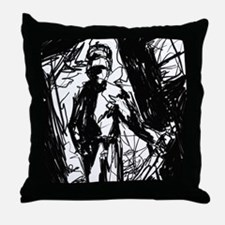 room with a knife guy Throw Pillow