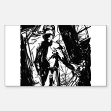 room with a knife guy Rectangle Decal