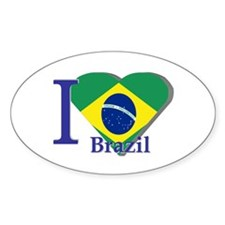 I Love Brazil flag Oval Decal