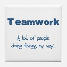 Teamwork - Blue Tile Coaster