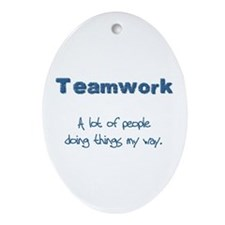 Teamwork - Blue Oval Ornament