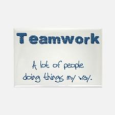 Teamwork - Blue Rectangle Magnet