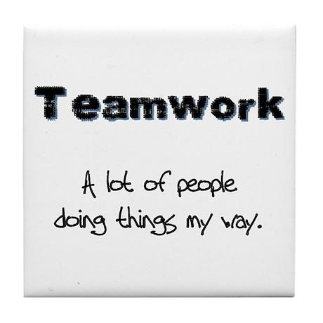 Teamwork - Black Tile Coaster