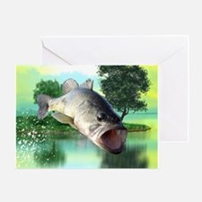Green Bass Greeting Cards