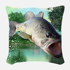 Green Bass Woven Throw Pillow