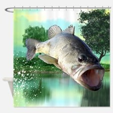 Green Bass Shower Curtain