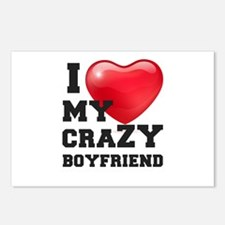 i love my crazy boyfriend Postcards (Package of 8)
