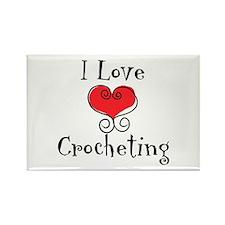 I Love (heart) Crocheting Rectangle Magnet