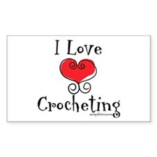 I Love (heart) Crocheting Rectangle Decal