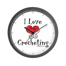 I Love (heart) Crocheting Wall Clock