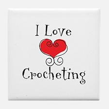 I Love (heart) Crocheting Tile Coaster