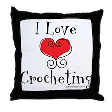 I Love (heart) Crocheting Throw Pillow