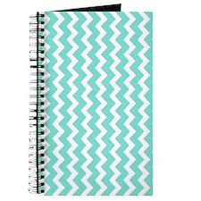 Aqua White Chevron Pattern Journal