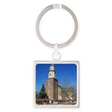BRUTON PARISH CHURCH COLONIAL WILL Square Keychain