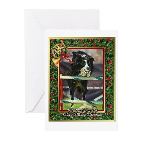 Border Collie Agility Christmas Greeting Cards