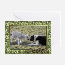 Border Collie And Lamb Christmas Greeting Cards