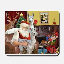 Santa with his Mama Llama Baby Mousepad
