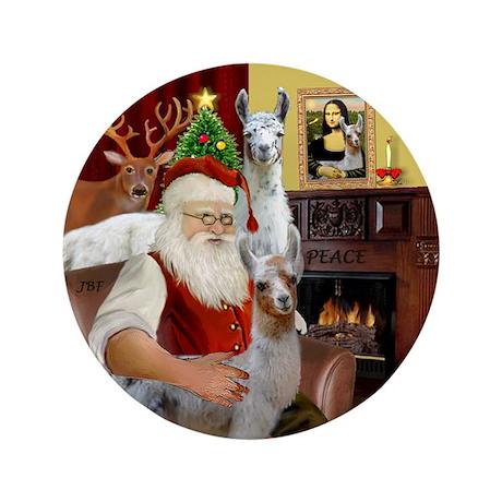 """Santa with his Mama Llama Baby 3.5"""" Button"""
