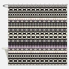 Mix #470, Black Aztec Shower Curtain