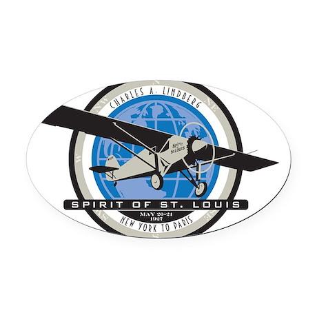 Charles Lindberg Spirit of St. Lou Oval Car Magnet