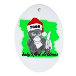 baby's first christmas Oval Ornament