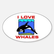 I LOVE WHALES Oval Decal