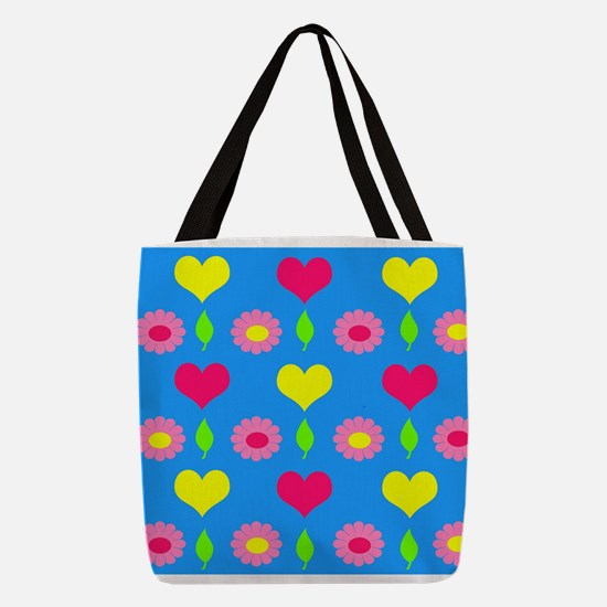 Daisy and heart print, turquois Polyester Tote Bag
