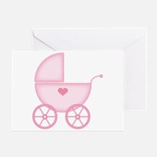 Pink Baby Carriage Greeting Cards