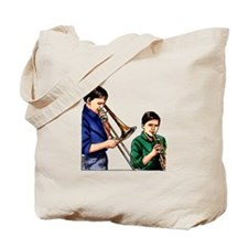 Trombone trumpet playing boys Tote Bag
