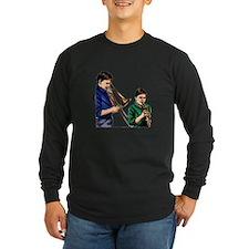 Trombone trumpet playing boys Long Sleeve T-Shirt