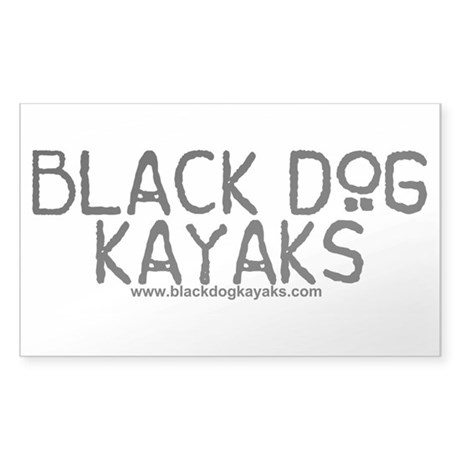 Black Dog Kayak Sticker (Rectangle)