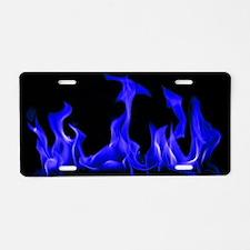 Blue Flames Aluminum License Plate