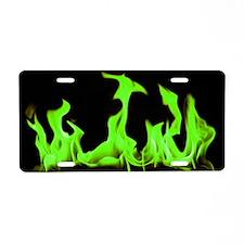 Green Flames Aluminum License Plate