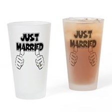 Just Married Thumbs Up Drinking Glass