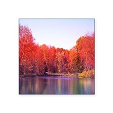Autumn Pond with Rich Red Trees Sticker