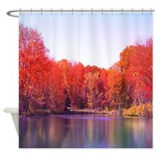 Autumn Pond with Rich Red Trees Shower Curtain