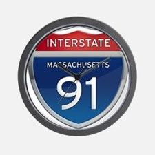 Massachusetts Interstate 91 Wall Clock