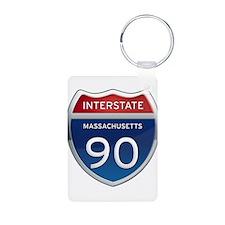 Massachusetts Interstate 90 Keychains