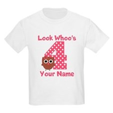 4th Birthday Girl Owl T-Shirt