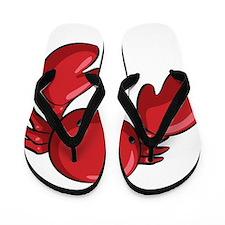 Red Cartoon Crab Flip Flops