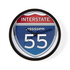 Mississippi Interstate 55 Wall Clock