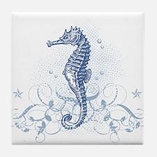 Blue Seahorse Tile Coaster