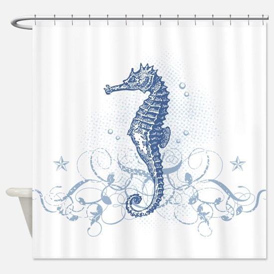 Blue Seahorse Shower Curtain