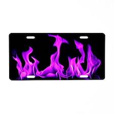 Purple Flames Aluminum License Plate