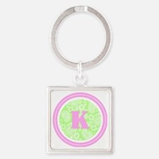 Lime Paisley Monogram-K Square Keychain