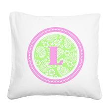 Lime Paisley Monogram-L Square Canvas Pillow